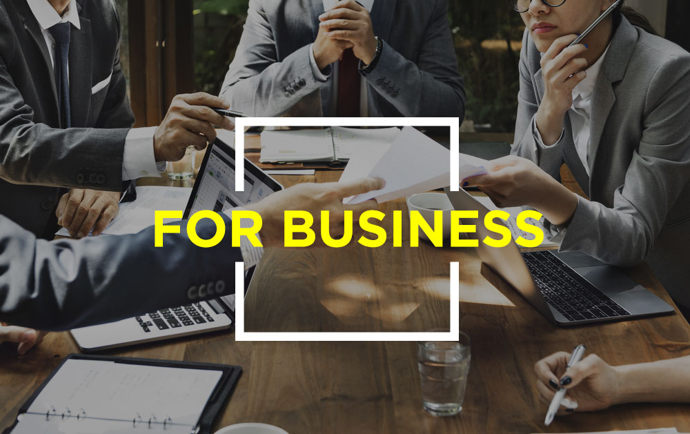 Image with text that reads for business
